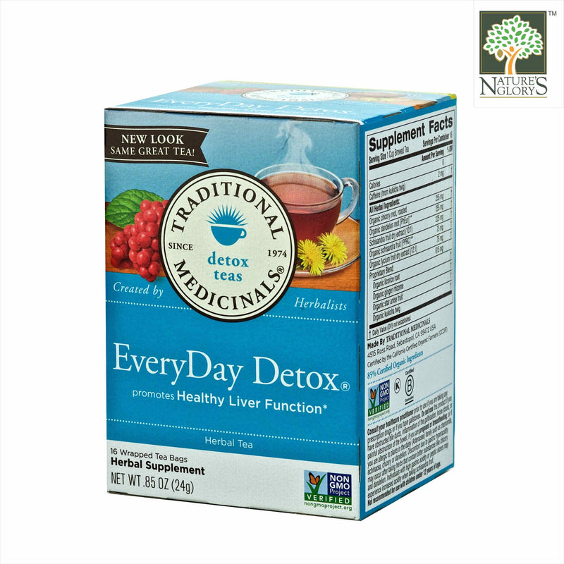 Organic Everyday Detox Tea, Traditional Medicinals 16 wrapped Tea Bags/Box