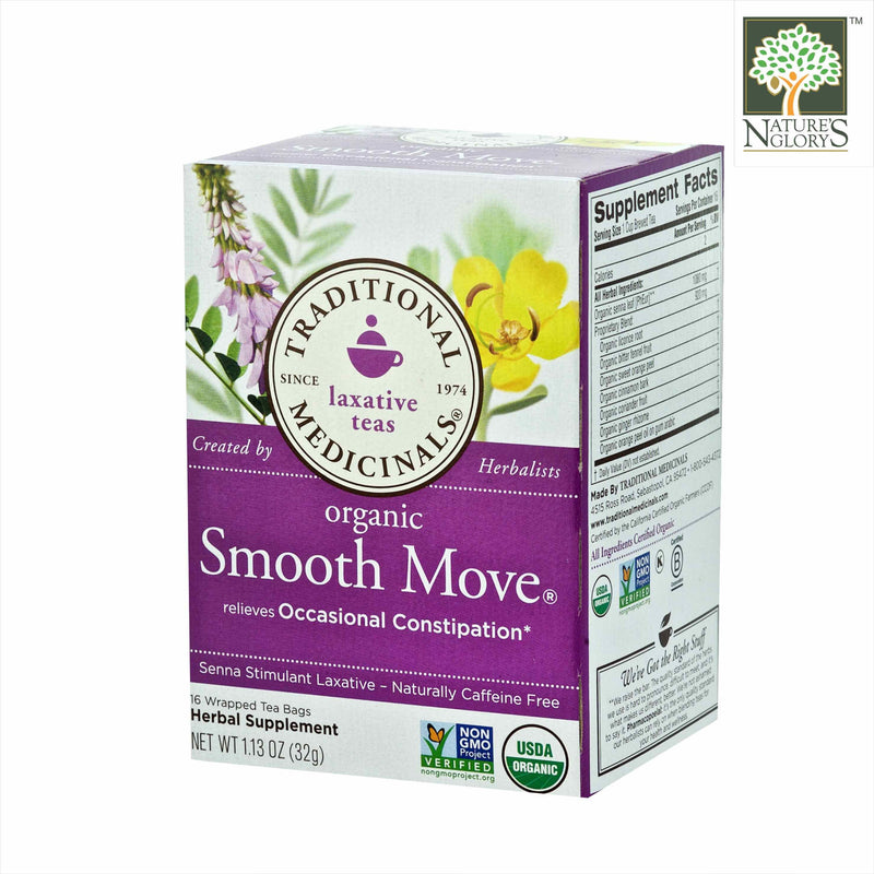 Organic Smooth Move Tea, Traditional Medicinals 16 Wrapped tea bags