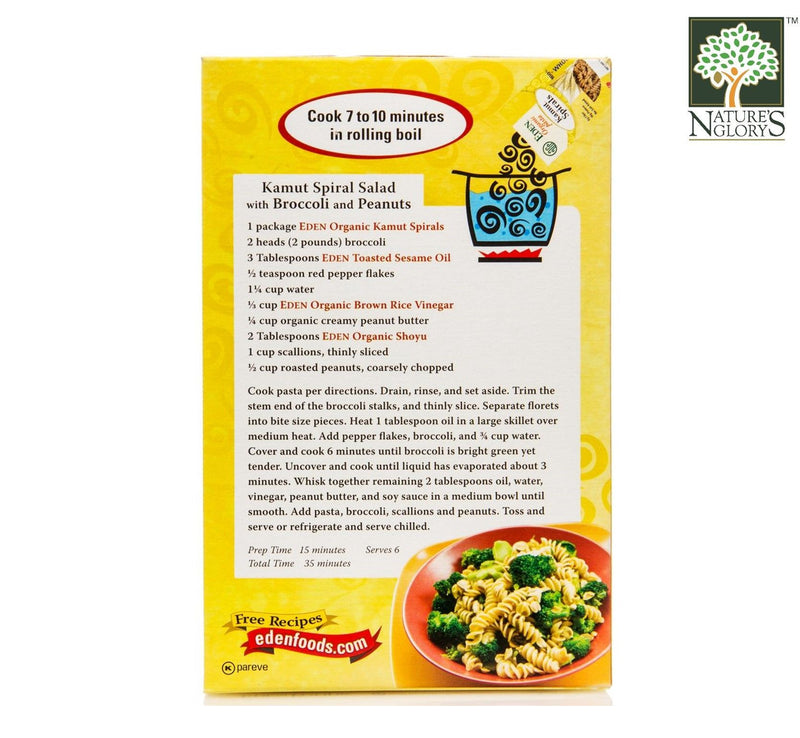 Whole Grain Kamut Spiral Pasta Eden Organic 340g - View 2