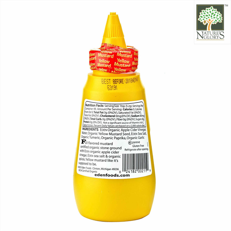 Yellow Mustard-Squeeze Bottle Eden 255g - Back View