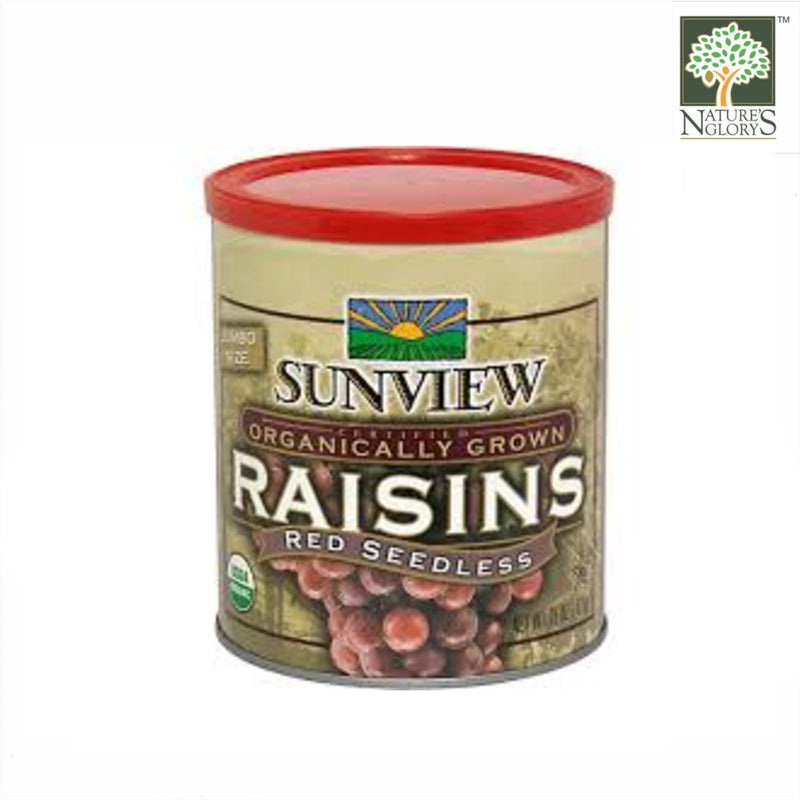 Red Seedless Organically Grown Raisins, Sunview 425g