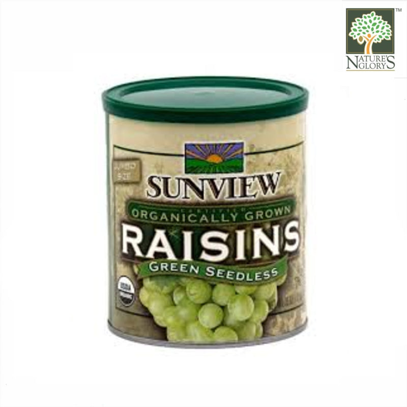 Green Seedless Organically Grown Raisins, Sunview 425g