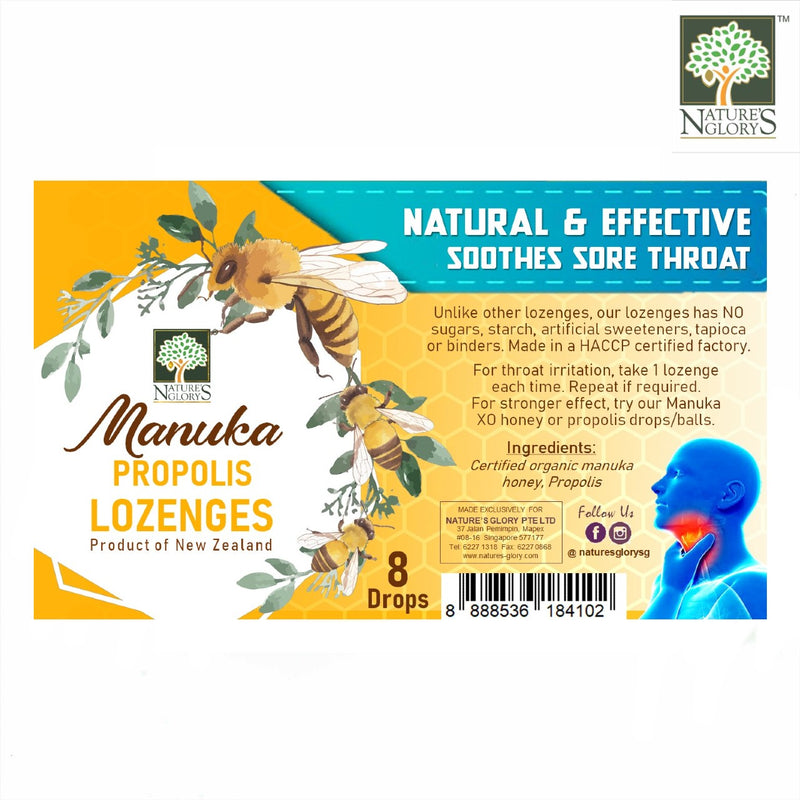 Manuka Propolis Lozenges, Nature's Glory 8 Drops
