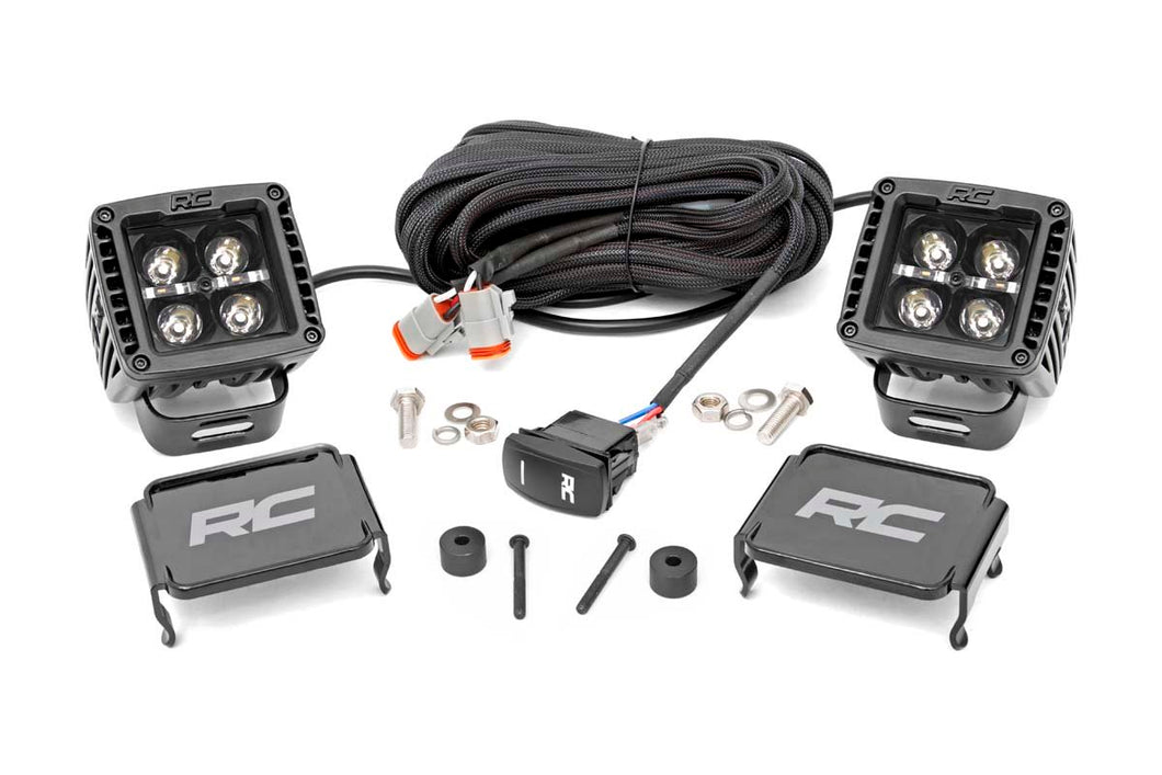 Jeep 2-inch LED Cube Easy-Mount Kit - Black Series w/ Amber DRL (18-20 Wrangler JL / 2020 Gladiator)