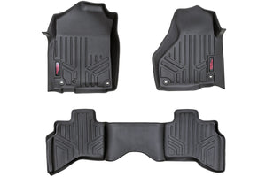 Rough Country Heavy Duty Floor Mats - Front & Rear Combo (Quad Cab Models w/ Full Length Floor Console)
