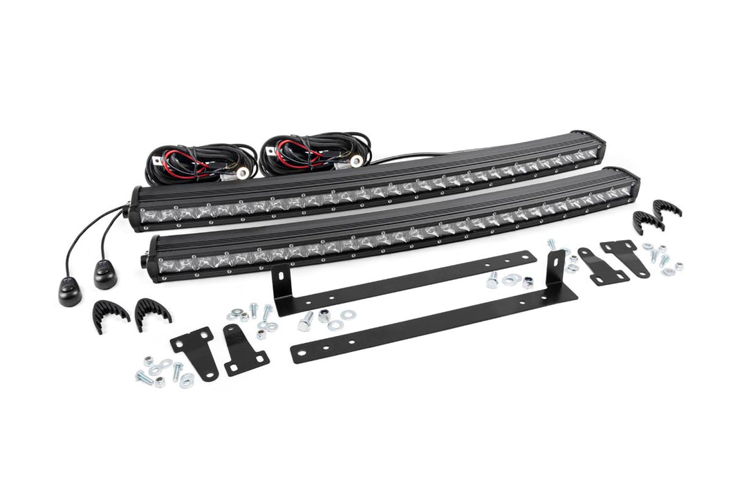 Rough Country Dual Set of Single Row LED Light Bar Grille Mounts w/ 30-inch Chrome Series CREE LED Light Bars