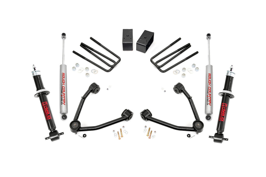 Rough Country 3.5-inch Suspension Lift Kit (Factory Cast Steel Control Arm Models)