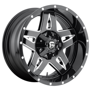 FULL BLOWN 17x9 5x114.30/5x127.00 GLOSS BLACK MILLED (-12mm)