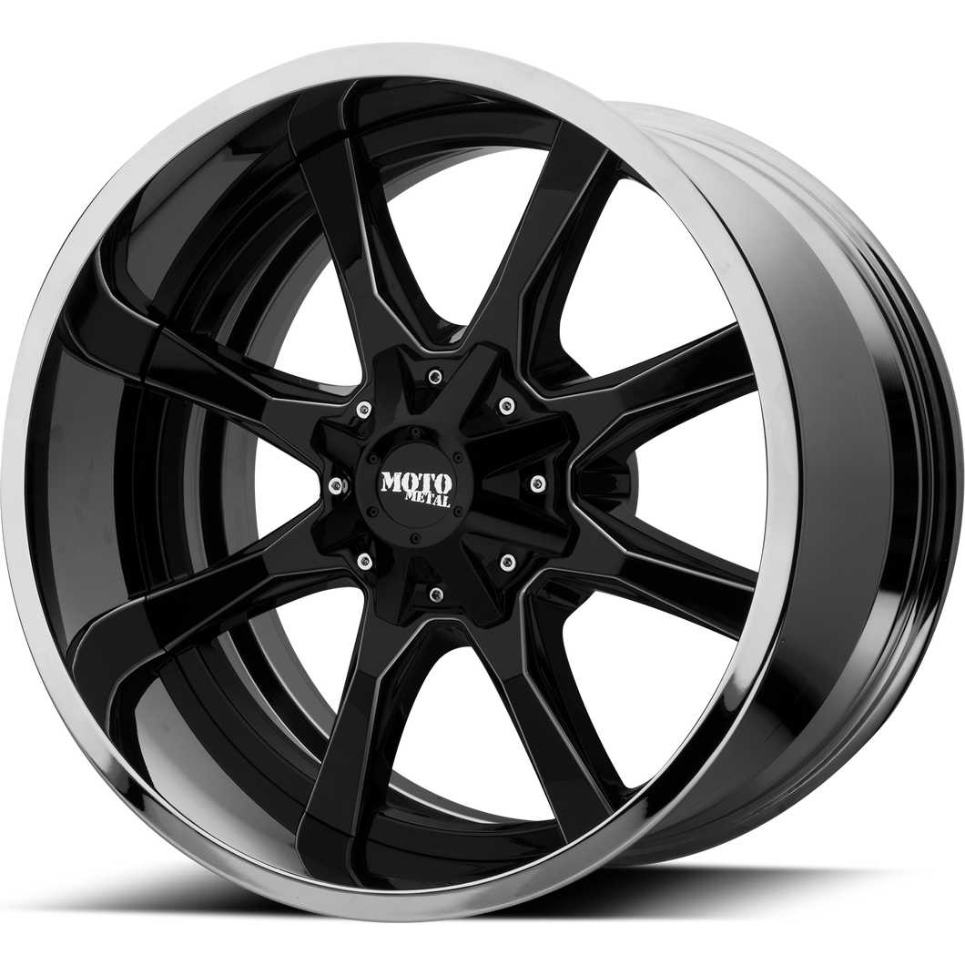 MO201 20x12 8x170.00 GLOSS BLACK MILLED CENTER W/ CHROME LIP (-44mm)