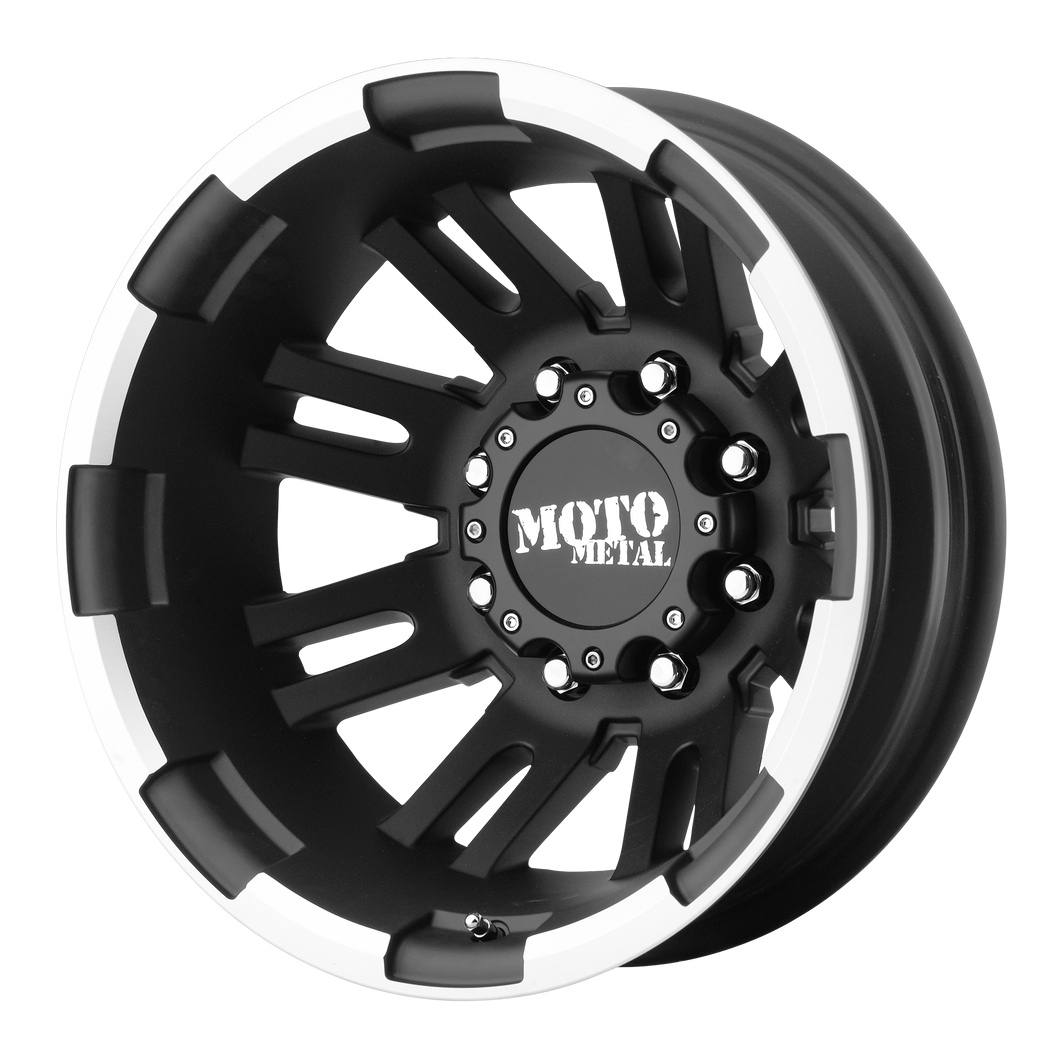 MO963 DUALLY 17x6 8x165.10 MATTE BLACK MACHINED DUALLY - REAR (-134mm)