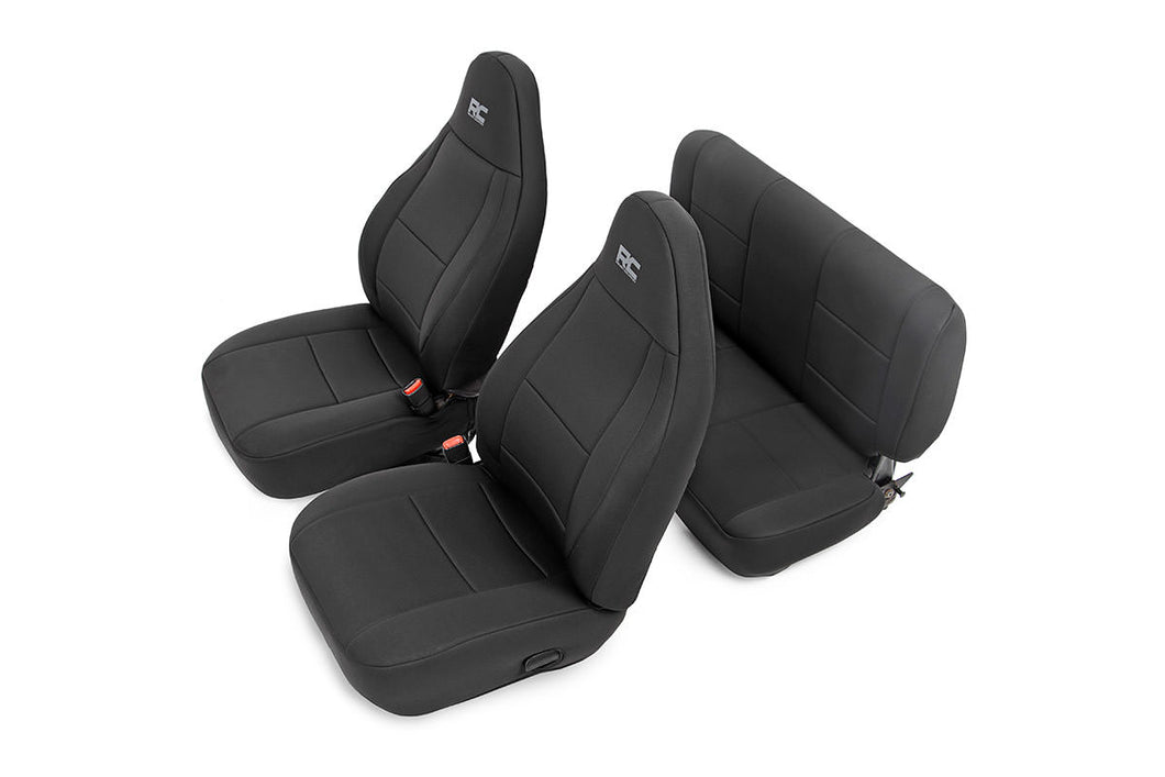 Rough Country Black Neoprene Seat Cover Set (Front & Rear)