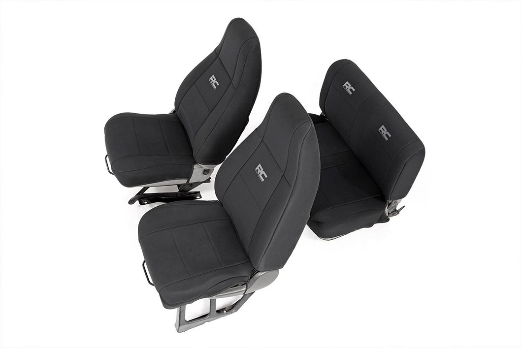 Rough Country Jeep Neoprene Seat Cover Set / Black (91-95 Wrangler YJ)