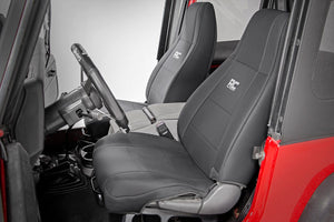 Rough Country Jeep Neoprene Seat Cover Set / Black (87-90 Wrangler YJ)