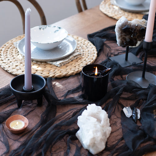 Ritual Crystal Candle Black