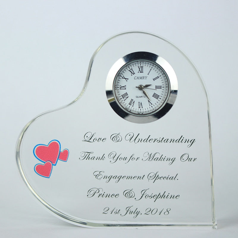 Festive & Party Supplies 8 PC Custom Engraving or Printing Heart Shape Crystal Clock Wedding Party Favors for Guest
