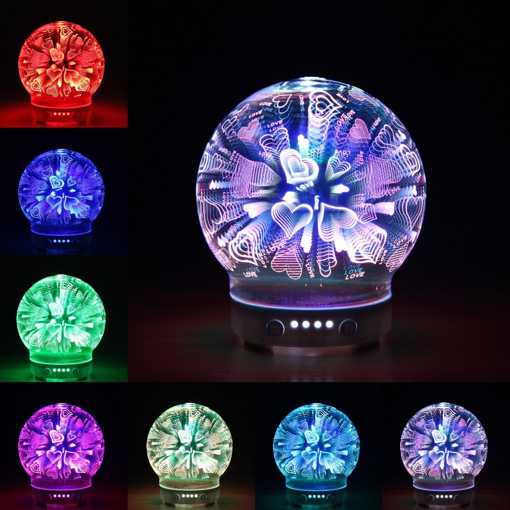 100 ml 3D Glass Firework Design Ultrasonic Air Humidifier with LED Night Aroma Lamp Aromatherapy Essential Oil Diffuser for Home