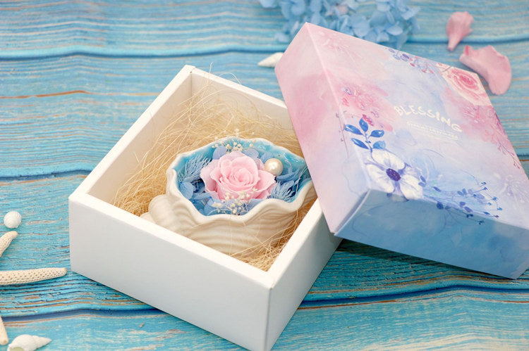 YO CHO Mixed Preserved Fresh Flowers with Shell Box For Valentine's Day Gift Party Favors DIY Forever Rose Wedding Decoration