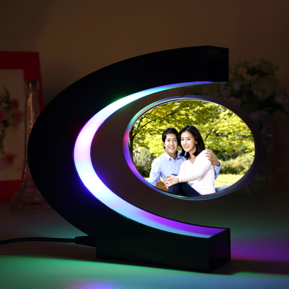 C shape Electronic Magnetic Levitation Floating Globe Photo Frame Blue light Birthday Gift Xmas Decor Wedding Gift