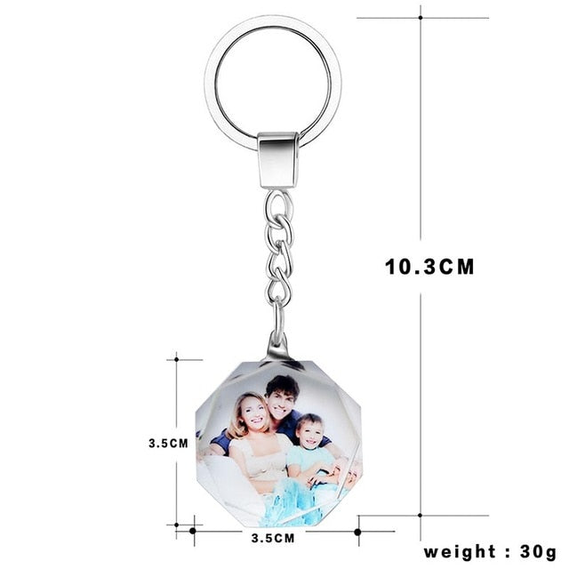 Crystal Glass Color Print Personalized Photos Custom Keychains Baby Family Lover Photo Key Rings-Personalize It with your Photos
