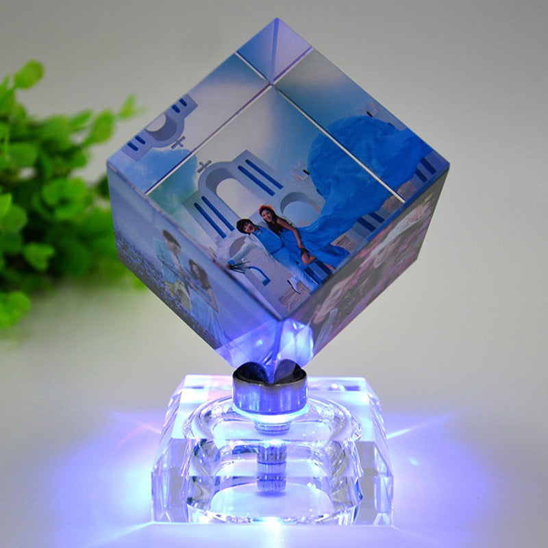 DIY Rotating Square Shaped Crystal Photo Frame Customized Color Printing Picture Frames Glass Personalized Gleamy Gifts