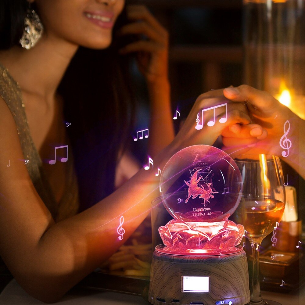 Personalized Crystal Photo LED Night Light Wood Rotating Base MP3 Music Swivel Display Bluetooth RGB Lamp Remote Control Gifts