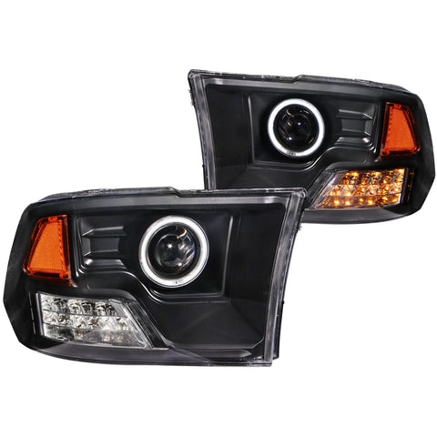 Anzo # 111159 - Dodge Ram 1500 09-18 / RAM 2500/3500 10-18 Projector Headlight Set HALO LED Black (SMD LED)