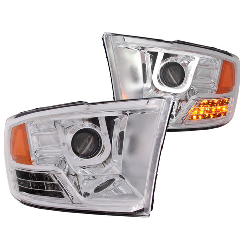 Anzo # 111269 - Dodge Ram 1500 09-18 / RAM 2500/3500 10-18 Projector Headlights U-BAR Chrome Clear