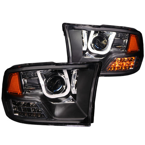 Anzo # 111270 - Dodge Ram 1500 09-18 / Ram 2500/3500 10-18 Projector Headlight Set U-BAR Black