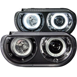 ANZO #121306 2008-2014 Dodge Challenger Projector Headlights Dual Halo Black (SMD LED) (HID)