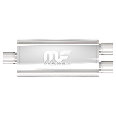"MagnaFlow #12198  5"" X 8"" Oval Center/Dual Straight Through Performance Muffler 3"" x 2- 2.5"""