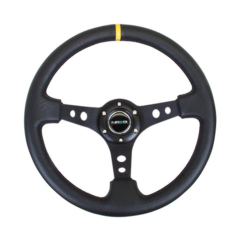 "NRG Innovations RST-006BK-Y 350mm / 3"" Deep Dish w.Holes - Leather - Black Spoke - Yellow Center Mark"