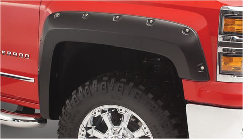 Bushwacker 40957-02 Black Pocket/Rivet Style Smooth 4-Piece Fender Flare Set for 2014-2019 Silverado