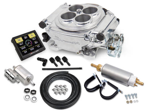 Holley #550-510K Sniper 4 Barrel Fuel Injection Conversion - Self-Tuning Master Kit + Handheld EFI Monitor - Shiny Finish