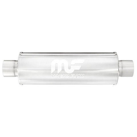 "MagnaFlow 10416  4"" Round Body Center/Center Straight Through Performance Muffler 2-1/2"" I/O"
