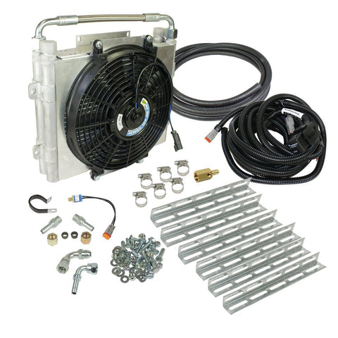 BD DIESEL #103060-DS-12 Xtrude Double Stacked Transmission Cooler with Fan - Complete Kit 1/2in Lines