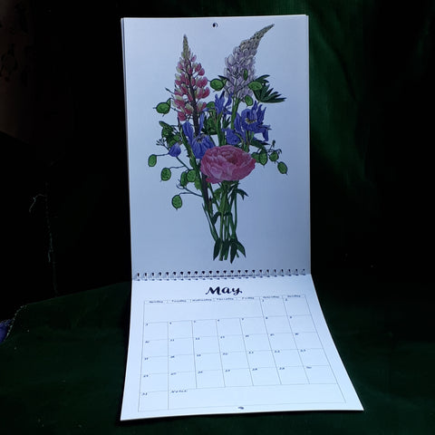 2021 Wall Calendar by Alice Draws The Line illustrated botanical bouquets for every month of the year