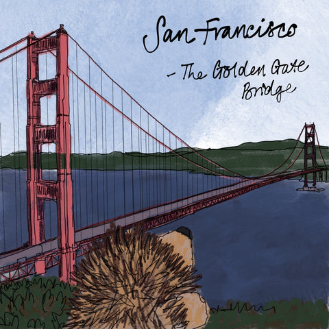 Prickle the hedgehog looking at the Golden Gate Bridge by Alice Draws The Line
