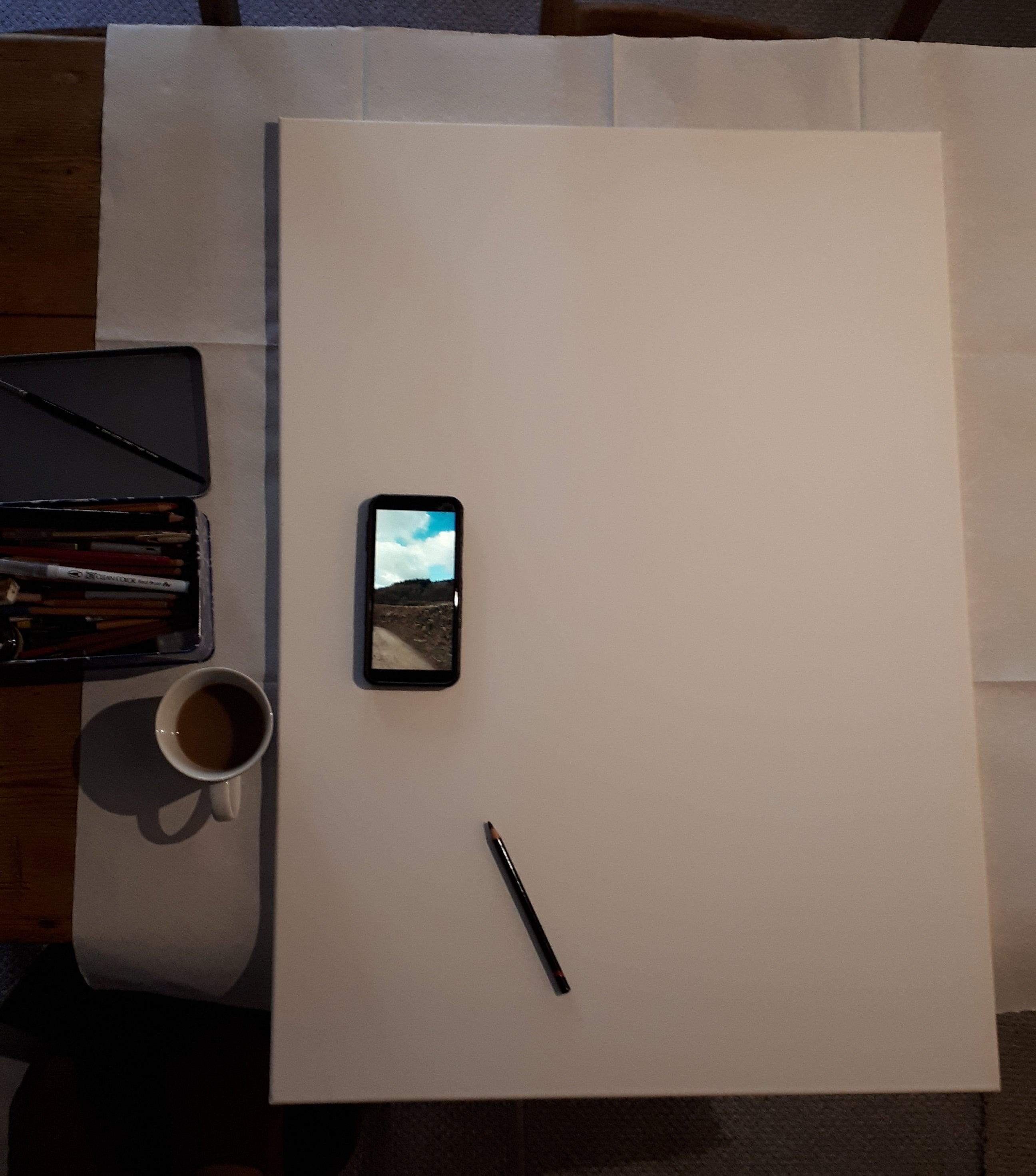A1 canvas ready for the piece to commence, by Alice Draws The Line