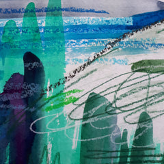Alice Draws The Line - abstract detail, greens and lines