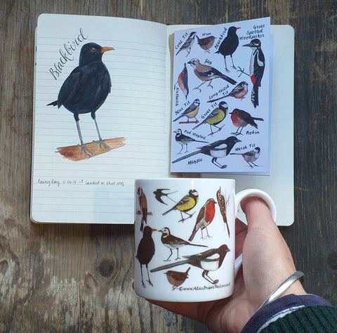 Alice's April Aviary bird studies led to the creation of the garden birds range by Alice Draws The Line
