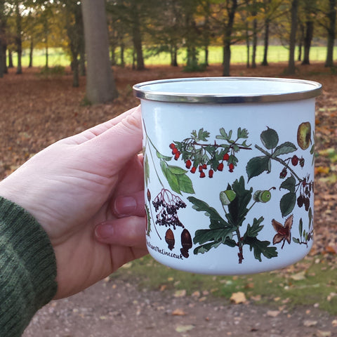 Autumn fruits seeds and leaves enamel mug by Alice Draws The Line