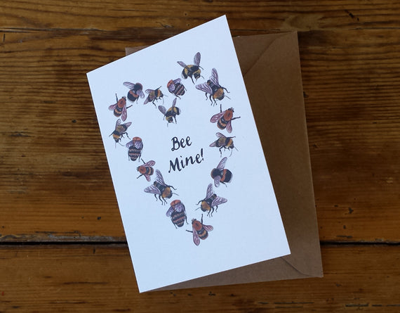 Bee Mine - honey bees Valentine's Day card, Palentine's day card, Galentine's Day card by Alice Draws the Line