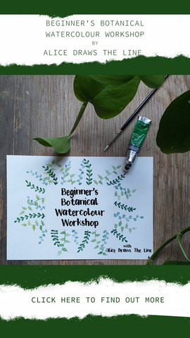 Beginner's Botanical Watercolour Workshop with Alice Draws The Line