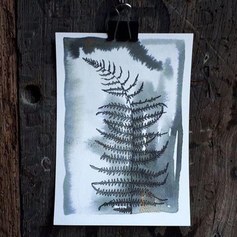 Bracken study by Alice Draws the Line, black ink with gold