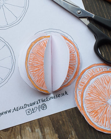 Free bauble template by Alice Draws the Line, simple paper colouring in decoration idea