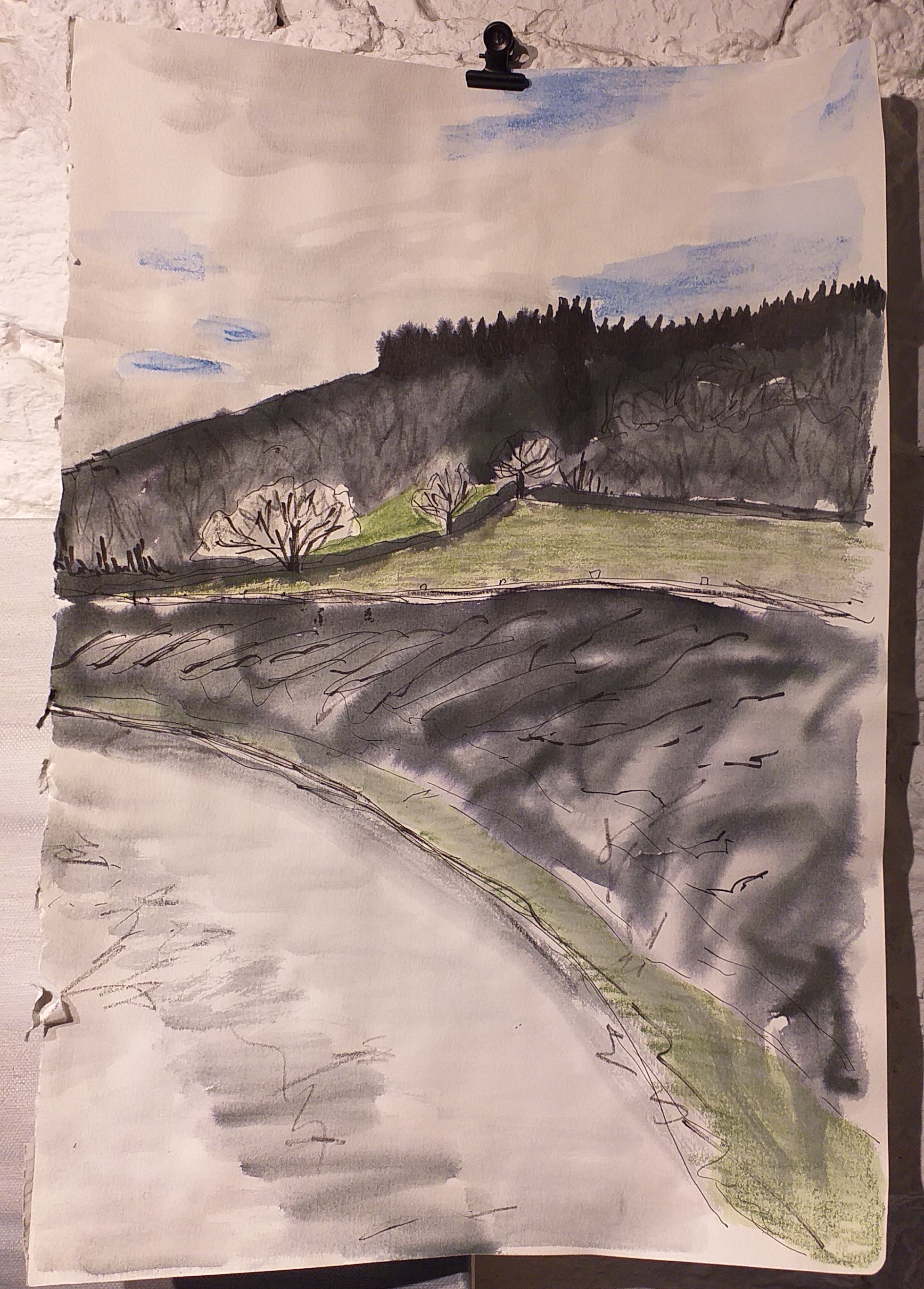 Initial landscape study on A3 sketchbook paper by Alice Draws the Line
