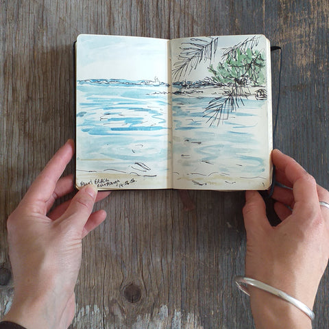 Beach with palm trees, Rarotonga, Travel Sketchbook 2006 by Alice Draws The Line