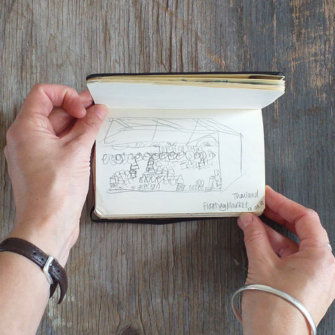 Floating Market, Thailand, Travel Sketchbook 2006 by Alice Draws The Line