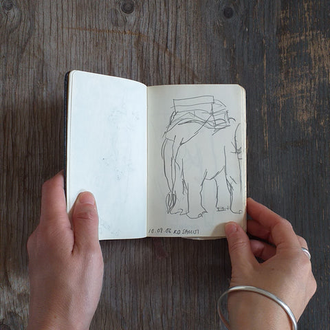 Elephant on Koh Samui by Alice Draws the Line, Travel Sketchbook 2006