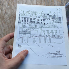 Tenby harbour by Alice Draws the Line, line drawing